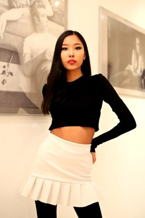 black Zara shirt - white Zara skirt