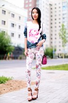 light pink Sheinside sweatshirt - light pink Zara pants
