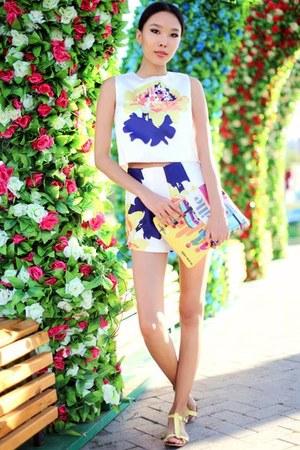 navy Sheinside cardigan - light yellow Front Row Shop bag - white Sheinside suit