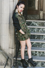 Black-charlotte-russe-boots-dark-green-camo-oversized-urban-outfitters-jacket