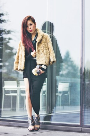 black side draped ShopRoxx dress - camel faux fur coat