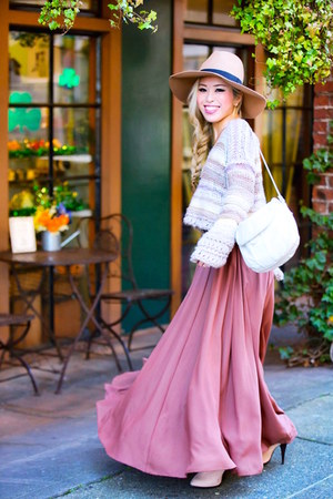 coral maxi Anthropologie skirt - light pink Topshop boots - camel asos hat