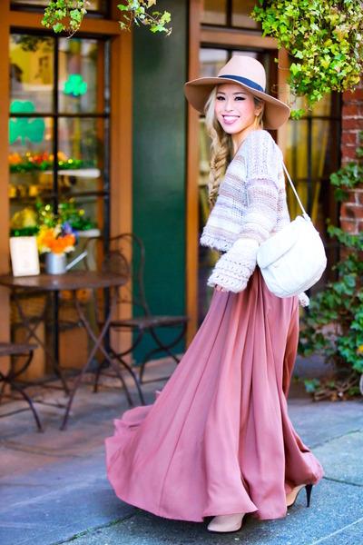 coral maxi Anthropologie skirt - light pink Topshop boots - camel asos hat