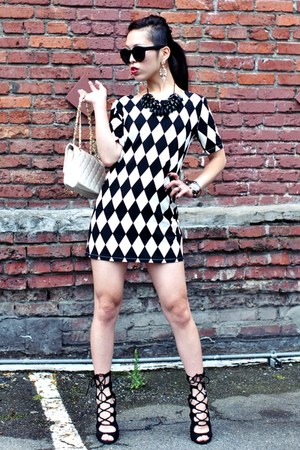 black diamond plaid Sheinside dress - black miss brooks free people sunglasses