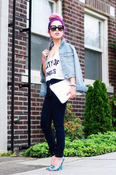light blue denim H&M jacket - navy ami clubwear jeans - white clutch Zara bag