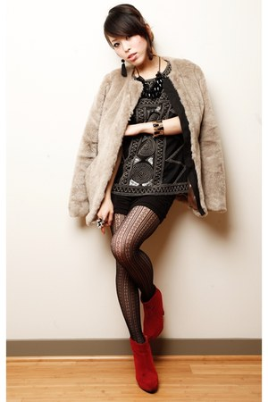 ruby red belvet Nasty Gal boots - heather gray fur Gap coat - black Japan tights