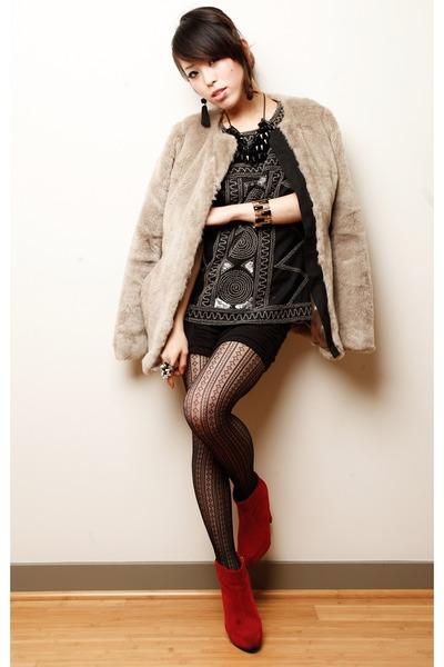 ruby red belvet Nasty Gal boots - heather gray fur Gap coat - black Japan tights