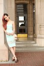 aquamarine midi Missguided dress - peach clutch H&M bag