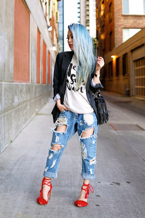 sky blue ripped One Teaspoon jeans - dark gray boyfriend Express blazer