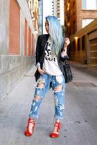 sky blue ripped One Teaspoon jeans - dark gray boyfriend Express blazer