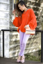 periwinkle skinny UrbanOG jeans - carrot orange oversized Zara sweater