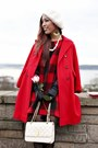 Red-check-nowistyle-dress-red-oversized-thrifted-coat