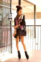 black Steve Madden boots - black Express sweater - purple plaid Gap scarf