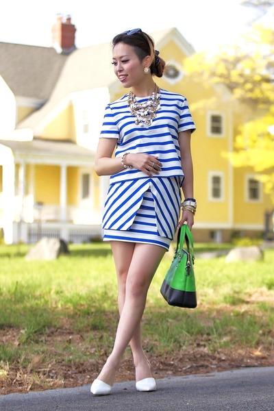 white pointy Zara heels - chartreuse kate spade bag - white mini Zara skirt