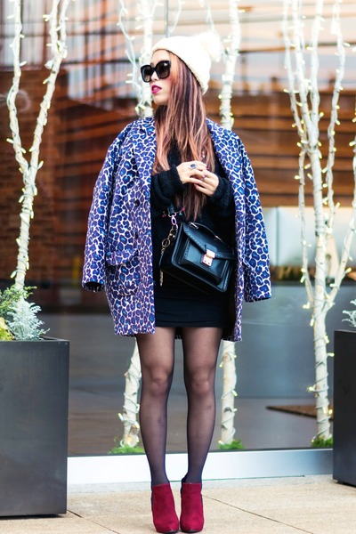 blue leopard print Fevrie coat - brick red Forever 21 boots