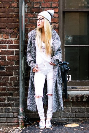 heather gray nowIStyle cardigan - white ripped Topshop jeans