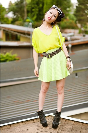 yellow neon H&M skirt - black Charlotte Russe boots