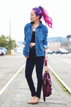blue denim Forever 21 jacket - navy high-waisted ami clubwear jeans