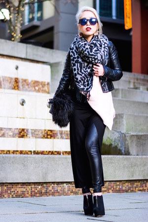 black asos boots - black biker H&M jacket - light pink oversized Zara sweater