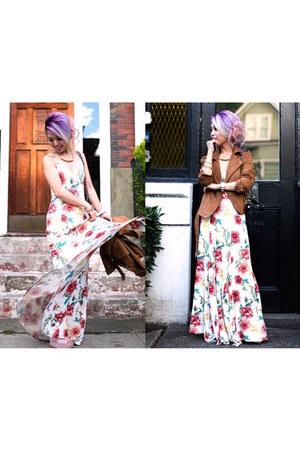 bronze suede Forever 21 jeans - white floral dress Nordstrom dress