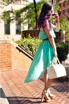 aquamarine Ross dress - white faux leather JustFab bag - brown Steve Madden belt