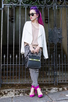 white biker 1State jacket - black houndstooth Now I Style leggings