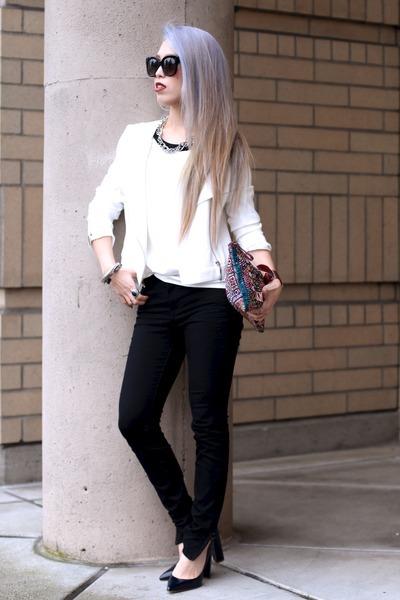white 1State jacket - carrot orange vintage bag - black Celine sunglasses