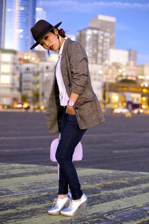 dark gray fedora H&M hat - heather gray oversized BB Dakota blazer