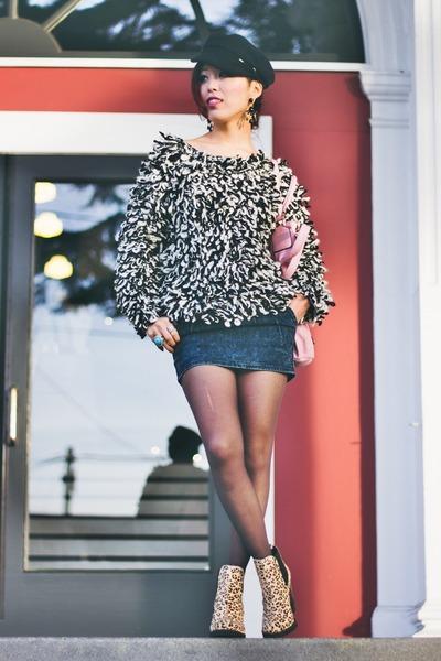 black ISABEL MARANT POUR H&M sweater - beige leopard print Shoe Cult boots