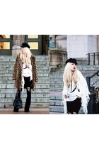 black fringe thrifted bag - light brown leopard print Forever 21 coat