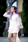White-lace-dezzal-dress-white-biker-dezzal-jacket