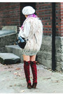 Crimson-over-the-knee-justfab-boots-white-beret-forever-21-hat