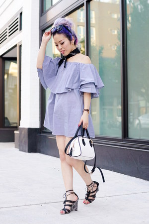 sky blue Sheinside dress - black bandana Urban Outfitters scarf
