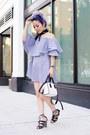 Sky-blue-sheinside-dress-black-bandana-urban-outfitters-scarf