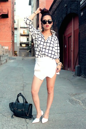 white grid Forever 21 shirt - forest green tote JustFab bag