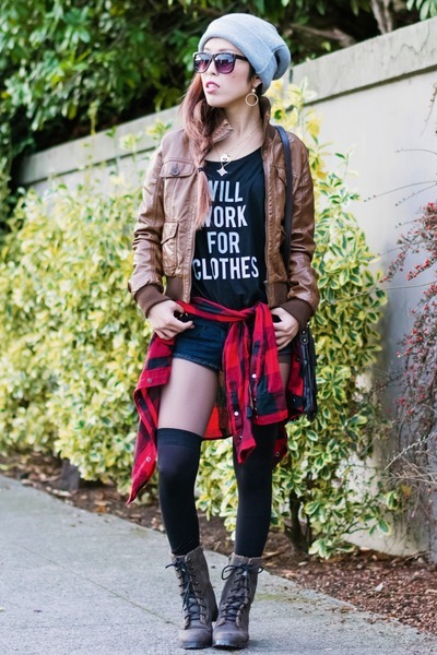 red flannel Urban Outfitters shirt - black QTee shirt - brown LeBunny Bleu boots