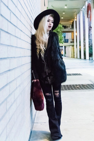 black flare asos jeans - dark gray fedora asos hat - black suede Lulus jacket