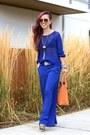 Blue-mesh-h-m-sweater-orange-justfab-bag-blue-wide-leg-mango-pants