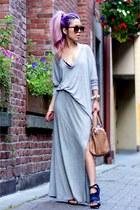 heather gray Zara sweater - tan Steve Madden bag