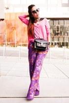 light orange floral print Forever 21 shirt - bubble gum H&M sweater