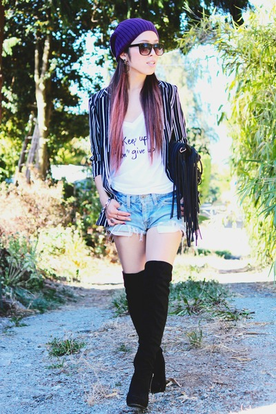 black over the knee Gifted from mom boots - deep purple beanie asos hat