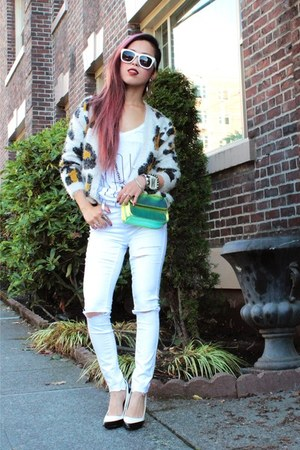 white ripped Topshop jeans - chartreuse hologram Nasty Gal bag