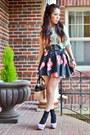 Light-blue-sheer-topshop-top-bubble-gum-flowered-print-thrifted-skirt
