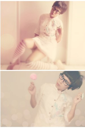 beige cotton linen jacket - bubble gum socks - light pink netting satin skirt