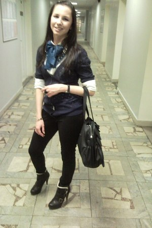 white BeFree blouse - navy Mango cardigan - black Bershka pants - black new look