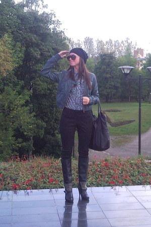 black pull&bear boots - black Bershka pants - sky blue Mango blouse - teal Zara