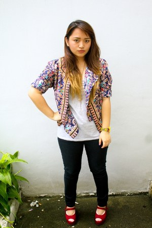 ruby red jelly bean wedges - black Forever 21 jeans - blue printed cardigan