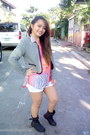 B-club-boots-space-shorts-h-m-blouse-tweed-just-g-cardigan