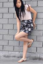 beige H&M blouse - black H&M skirt - white Forever21 shoes