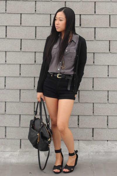 H&M blouse - Cole Haan bag - Forever 21 shorts - H&M wedges - H&M cardigan